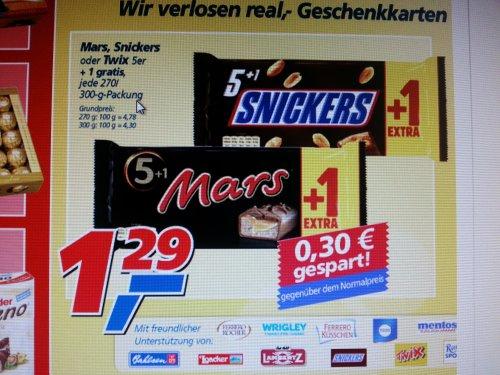 Mars/Snickers/Twix 5+1 für 1,29 @Real
