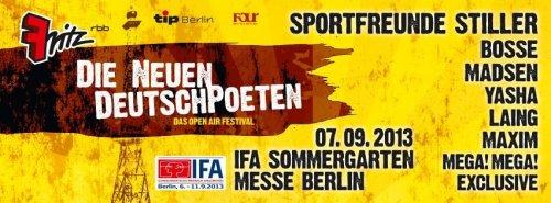 Radio Fritz - Die neuen Deutschpoeten - alle Auftritte komplett als Videostream bis 07.10.2013 - Exclusive,Rakede,Mega! Mega!, Maxim, Laing, Madsen, Bosse, Sportfreunde Stiller