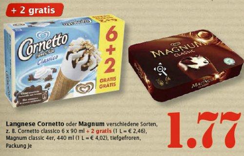[Marktkauf] Cornetto und Magnum Eis versch. Sorten 1,77 € evtl. nur lokal Stuttgart/Esslingen