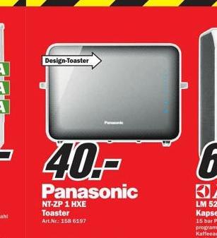 [Lokal MM Frankfurt Borsigallee] Toaster Panasonic NT-ZP1 - 40 €