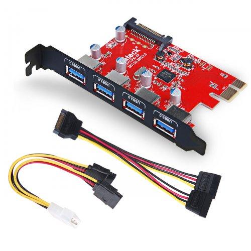 USB 3.0 PCI expresskarte 4 port Anschlüsse mit einer 4pin auf 2x15pin Kabel und einer SATA Strom-Y-Kabel SATA Buchse an 2x SATA Stecker, Fresco FL1100 Chipsatz@AMAZON 21.99