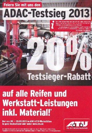 A.T.U. (09.-20.09.2013) 20% auf alle Reifen sowie Werkstattleistungen inkl. Material
