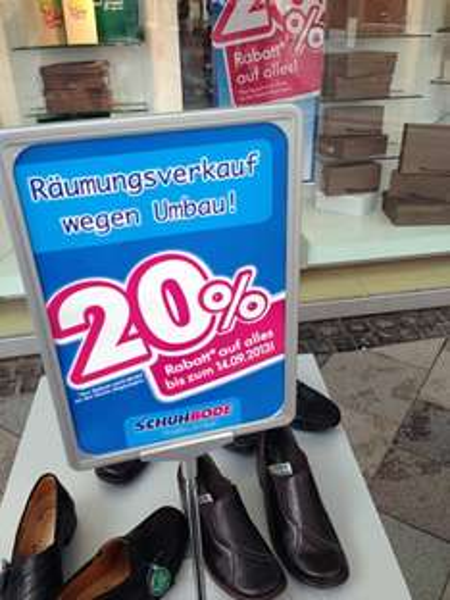 Offline/lokal Hamburg-Bergedorf: 20 Prozent auf alles bei Schuh Bode im Sachsentor