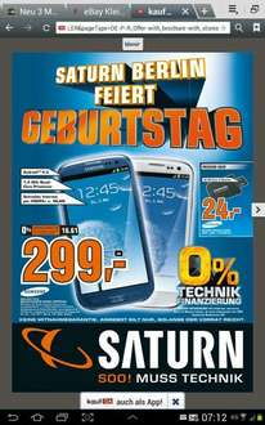 SATURN [lokal Berlin] Samsung S3 i9300 für 299,-