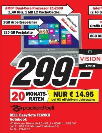 BELL EasyNote TE69KB für 299€ bzw. für 14.95€ im Monat