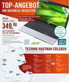 Acer TravelMate P253-M-33124G50Mnks  in den Cyperport Stores ( i3 3.Generation, 4GB Ram, 500GB Festplatte, Intel HD 4000, Win8 64 Bit, mattes Display)