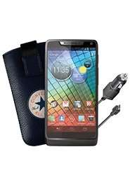 Motorola RAZR i (+ Schutzfolie (2x) + KFZ-Ladekabel + Converse All Star Tasche + Samsung E1200) mit 2x Schubladenvertrag OHNE Fixkosten