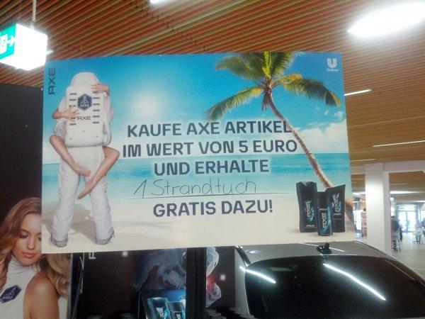 Axe Produkte im Wert von min 5 Euro kaufen und Gratis Strandtuch bekommen( Lokal Real Dortmund Indupark)