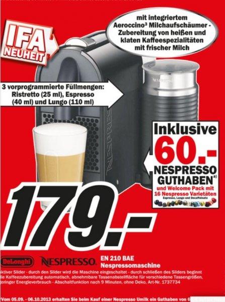 Bei Media Markt Nespresso U Maschine + Aeroccino + 60€ Guthaben für nur 179€