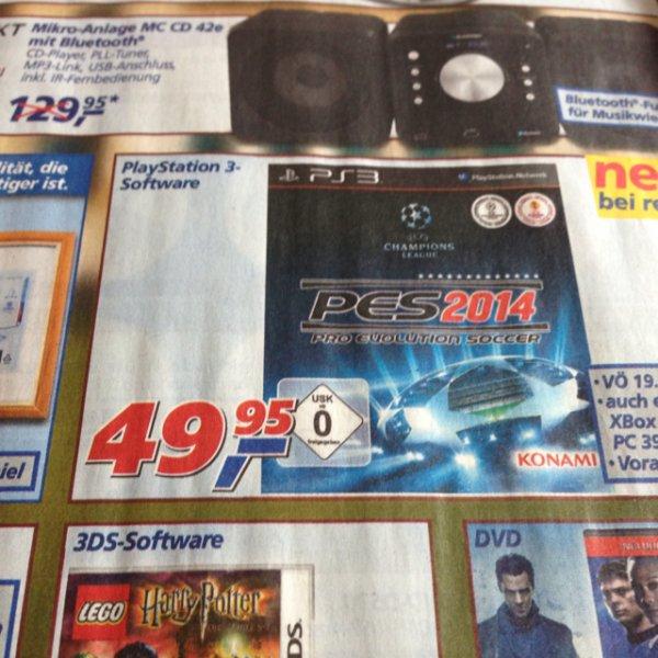 Offline: Real - PES 2014 für die PS3 und XBox - 49,95 €