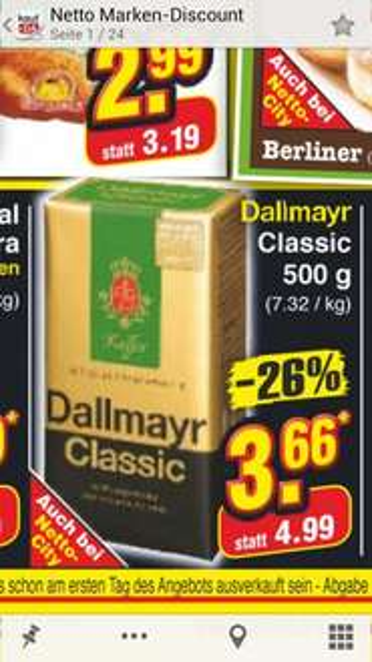 [Netto] Dallmayr Classic 500gr. für 3,66€