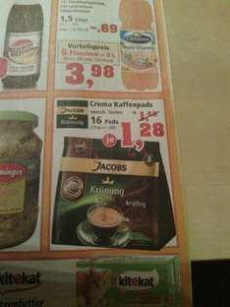[offline] Thomas Philipps 16 Crema Kaffeepads versch. Sorten 1,28 €