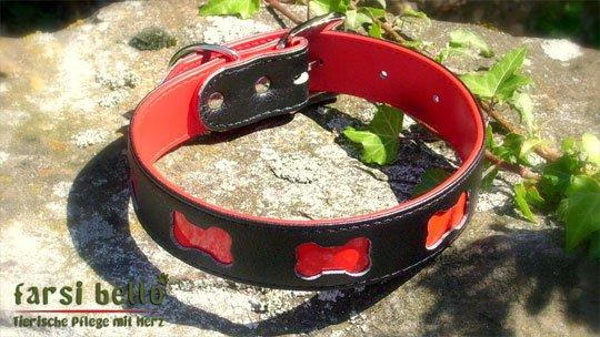 Hundehalsband Red Bone, reflektierend, 50 cm, echt Leder, NEU & OVP - 10,50 € inkl. Versand mit Versandrabatt