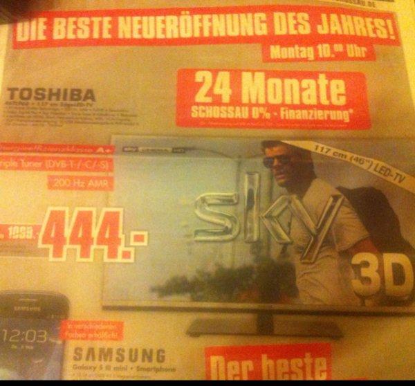 "TOSHIBA 46"" (117 cm) 3D Fernseher nur 444€ (Idealo ab 639€)"