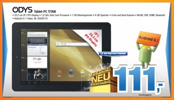 [Lokal Expert BENING] 8 Zoll Tablet Odys Tablet-PC TITAN für 111 Euro