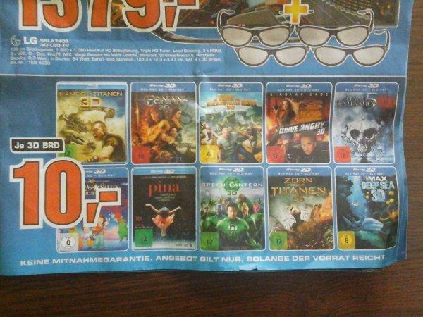 10 3D Blu-rays a 10 € Saturn Berlin lokal und weitere Angobte S4 z.B.