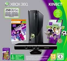 RAKUTEN SUPER SALE - Xbox 360, 250 GB, inklusive Kinect Sensor und den Spielen Adventures, Dance Central und Sports