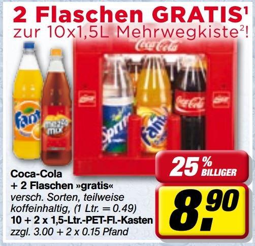 [toom Sachsen/Thüringen] Coca Cola (und Sprite, Fanta etc.) in 1,5-l-Mehrwegflasche für 49 Cent je Liter