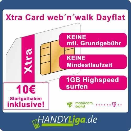 Xtra Web'n'Walk Prepaidkarte mit 10€ Startguthaben für 1€ @Ebay