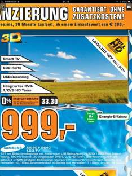 [Lokal Saturn Hagen & Iserlohn] Samsung UE50F6640 LED TV