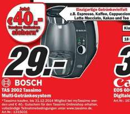 Bosch Tassimo Multi-Getränkesystem für 29€