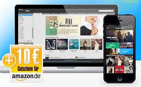 Simfy 1 Monat Kostenlos + 10€ Amazon Gutschein @Web.de