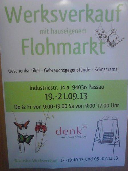 Werksverkauf und Flohmarkt Geschenkbedarf / Gartenmöbel in Passau