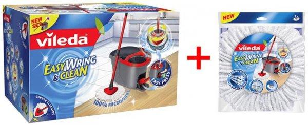 (Ebay Wow) Vileda Easy Wring & Clean + Ersatzwischbezug [Wischmop mit Powerschleuder] Microfaser Mop, Eimer + Gratis Ersatzwischbezug!