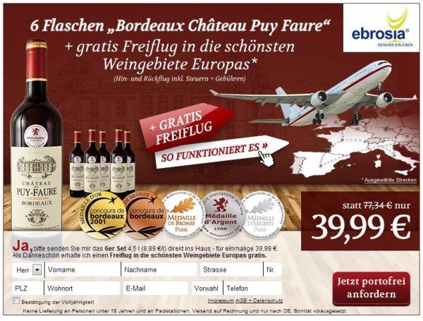 6 Flaschen Wein und Freiflug innerhalb Europas für 40 Euro