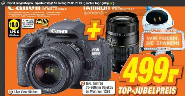 [Local Expert Langenhagen und weiteren Filialen ] Canon EOS 600D Kit 18-55III + 70-300mm Tamron Objektiv 499€