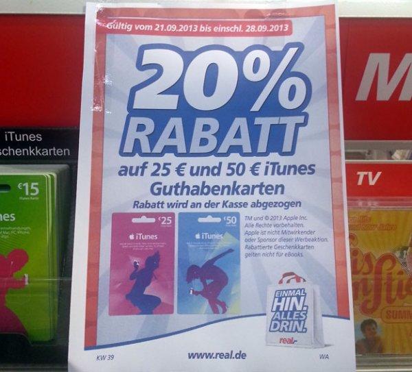 20% Rabatt auf iTunes Guthabenkarten beim real,- Düren (evtl. bundesweit)
