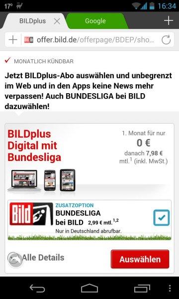 BILDplus und Bundesliga bei BILD Digital und Premium  im 1. Monat kostenlos