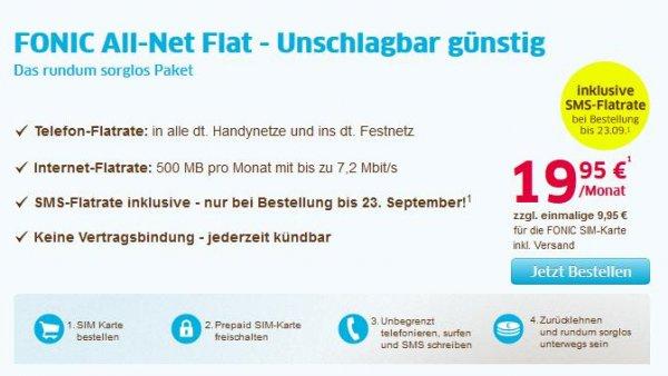 Fonic All-Net Flat für 19,95€/Monat [Keine Vertragslaufzeit]