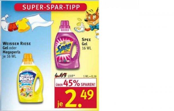 Rossmann: Weisser Riese oder Spee  je 16 WL nur 1,49 € mit Henkel Coupon