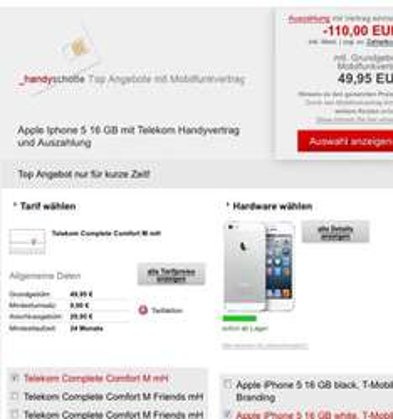 Iphone mit TM Vertrag und Auszahlung