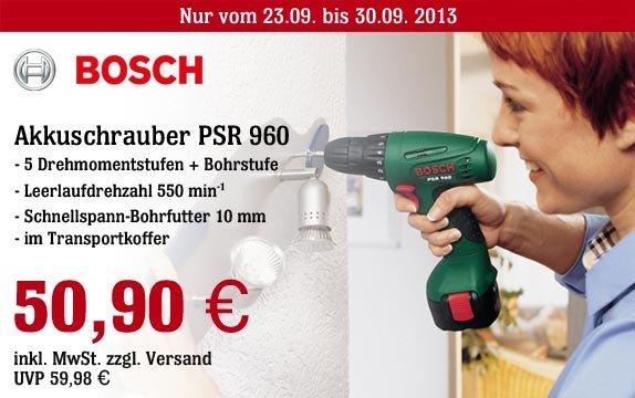 Super Bosch Akku-Schrauber PSR 960 jetzt für 50,90EUR zzgl.Versand