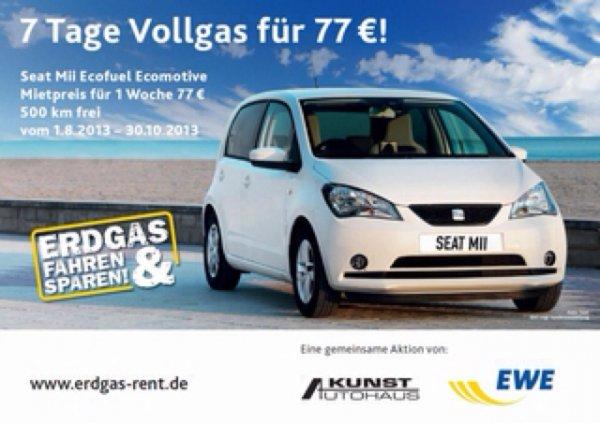 7 Tage Erdgas-Fahrzeug mieten für 77 Euro (500 km) @lokal Oldenburg, Cloppenburg, Brake, Sottrum, Varel
