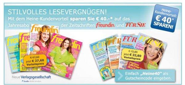 Jahresabo von FÜR SIE und FREUNDIN mit 40 Euro Rabatt