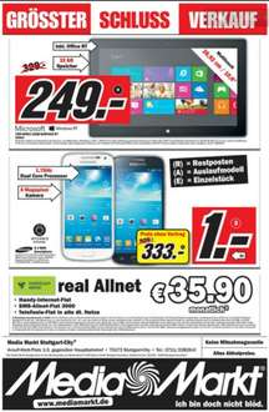 Media Markt Stuttgart City: Microsoft Surface RT 32 Gigabyte (ohne Cover) für 249,00€