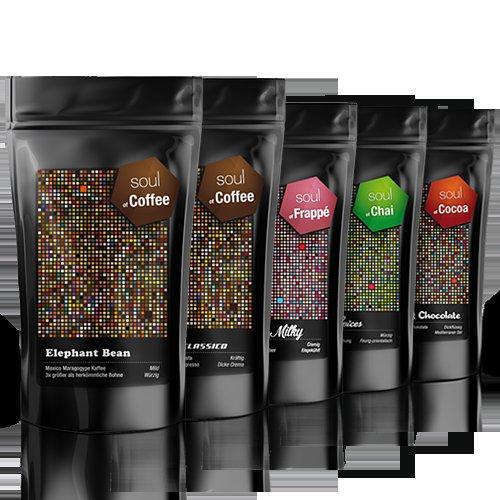 Probierpaket: 5 x 250g - Kaffee, Espresso, Frappé, Schokolade und Chai für 24,90€