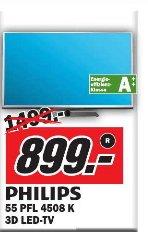 [Media Markt Münster]  Philips 55PFL4508K 140 cm (55 Zoll) 3D-LED-Backlight-Fernseher, EEK A++ (Full HD, 200Hz PMR, DVB-T/C/S, CI+, WLAN, Smart TV, HbbTV)