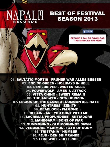 """kostenloser Sampler von Napalm Records """"Best of Festival Season 2013"""" bei FB"""