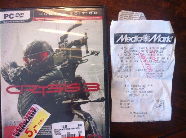 Crysis 3 Hunter Edition :  PC = 5 €, XBox 360 = 10€ (LOKAL MM Berlin Schloßstraße)