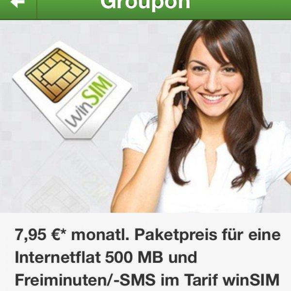 winsim - 250 Minuten, 250 SMS, 500 MB für 7,95 € - ohne Laufzeit @groupon