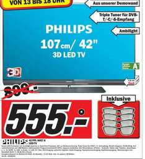 Restposten: Philips LED-TV von 899€ auf 555€ + gratis 3D-Brillen