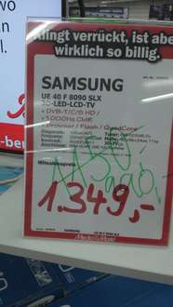 (Lokal Mediamarkt  Berlin Charlottenburg) Samsung LED TV 40F8090 990,- / 46F8090 1450,- / 55F8090 1990,- Euro