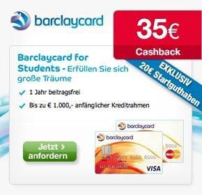 Barclaycard for Students 35€ Cashback von Qipu + 20€ Startguthaben von Barclaycard + 0,75% Zinsen auf Guthabenkonto