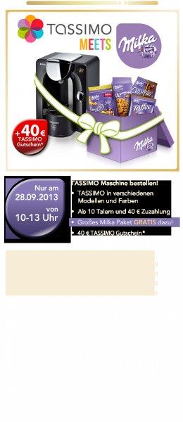 Diverse Tassimo-Maschinen plus 40€-Gutschein plus Milka-Paket für 10 Jacobs-Kronen ab 40€-Zuzahlung