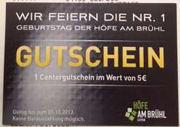 [Leipzig] 5€ Gutschein für's Vorzeigen eines Kassenzettels @ Höfe am Brühl // weitere Aktionstage (Freebies)