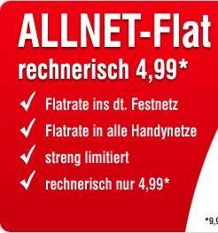 E-Plus Allnet-Flat - Telefonieren in alle deutschen Netze für 4,99 Euro/Monat [Handybude]